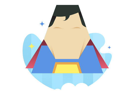 Appsumer superman avatar on a blue background