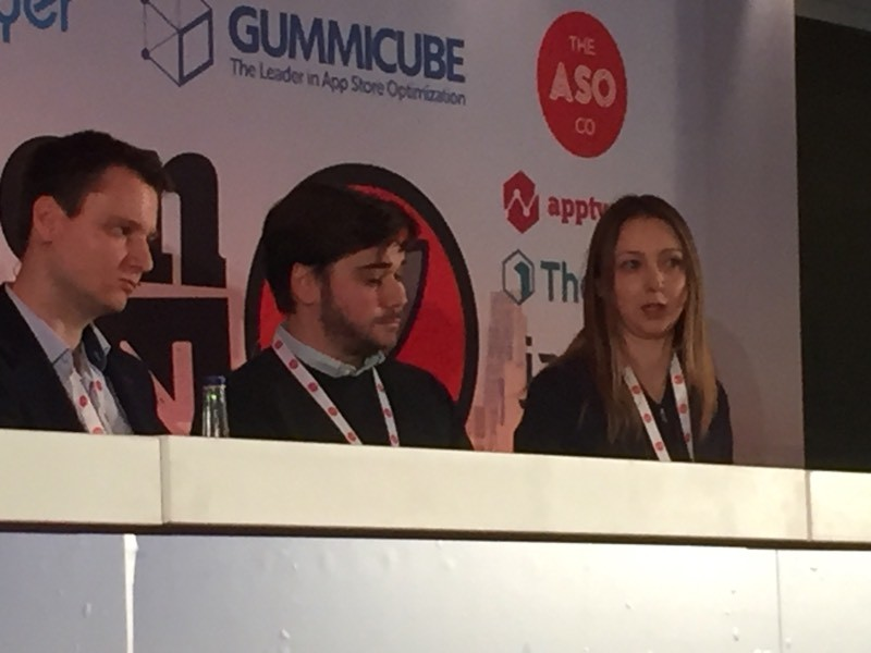 "Inga Meskauskaite from Appsumer taking part in the panel discussion on ""where to spend your app marketing budget"""
